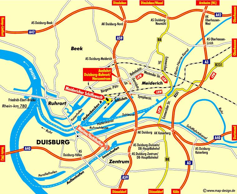Meidericher Schiffswerft MSW Duisburg - Seekarte