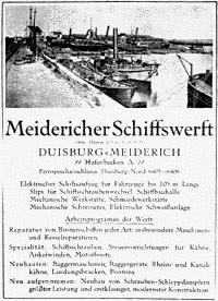 Meidericher Schiffswerft MSW Duisburg - History